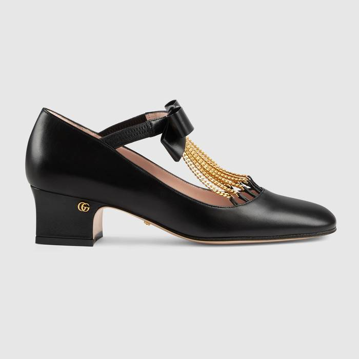 유럽직배송 구찌 GUCCI Gucci Women's mid-heel pump with crystal bow 637134DMBT01000